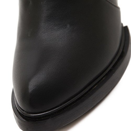 Low Heels Pull AllhqFashion Pointed Black top Boots Womens Toe High PU Closed on wqqSzO0a