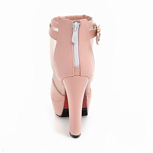 Stivali Da Donna Con Tacco Alto In Pelle Con Tacco A Spillo E Zeppa Peep Toe In Pelle Rosa Carolbar
