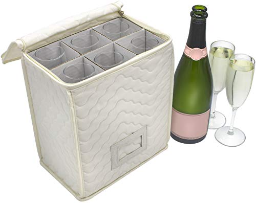Sorbus Champagne Flute Storage Chest - Deluxe Quilted Case with Dividers - Service for 6 - Great glassware storage for Protecting or Transporting Champagne Flute Glasses (Storage Flute - Beige)