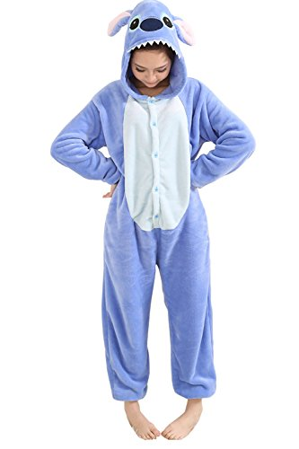Duraplast Unisex Adult Pajamas Costume Onesie Flannel Halloween Cosplay Hooded Jumpsuit (Blue,XL)