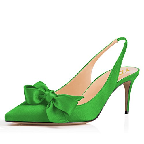 e Slingback Satin Dress Pumps Stiletto Mid Heels Evening Prom Sandals with Bows Green 6 ()