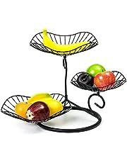 3-Tier Fruit Basket, Decorative Fruit Bowl Stand, Fruit Racks for Kitchens,Black