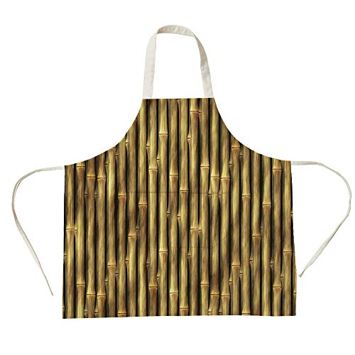 3D Printed Cotton Linen Big Pocket Apron,Beige,Tropical Bamboo Poles Woody Grass Asian Ethnic Style Tall Thin Harvest Natural Artprint Home Decorative,Golden,for Cooking Baking Gardening ()