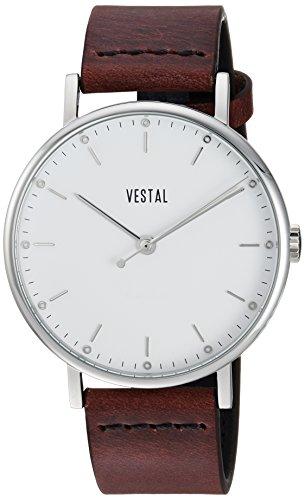 Vestal 'Sophisticate' Swiss Quartz Stainless Steel and Leather Dress Watch, Color:Brown (Model: SP42L01.CVBK)