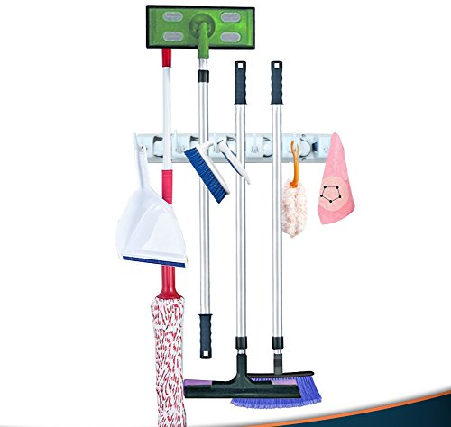 Broom and Mop Wall Mount Storage