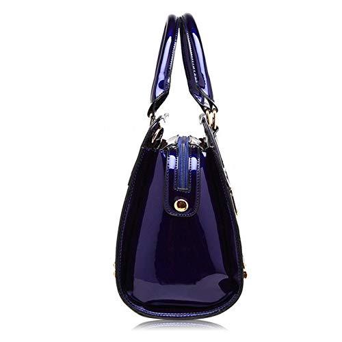 Qualité Blue Main Classique Sac Cuir La À Bandoulière De Femme Haute Brodé Verni Pour En Mode zAx55CwZq