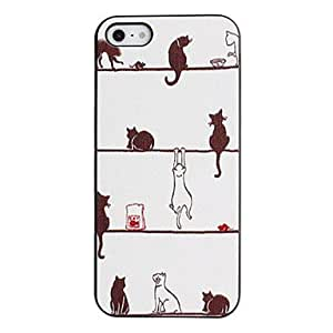 Cat's Fancy Lazy World Pattern PC Hard Case with Black Frame for iPhone 5/5S