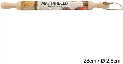Mattarello fisso in legno per tutti i tipi di impasti HX916161 Matterello in legno Lunghezza 28 cm Diametro 2,8 cm