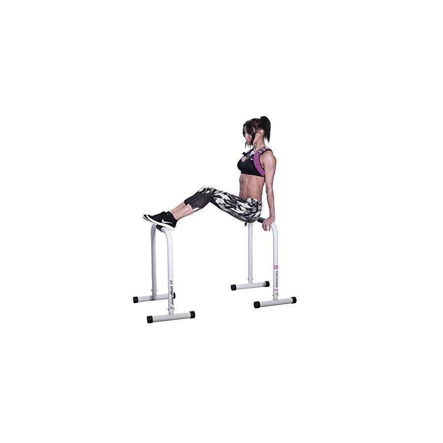 BodyRock Dip Bar Station for Home Workout Challenger Exercise Bars for Dips & Calisthenics Parallette Equipment to Build Core Strength, Balance & Tricep, Arm & Shoulder Muscles 2 Bars, Pink