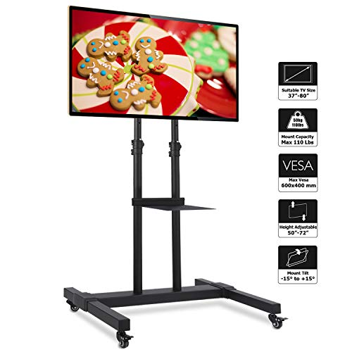 Rfiver Mobile TV Stand Rolling TV Cart with Tilt Mount and Locking Wheels for Most 37 -80 LCD LED Flat Screen Curved TVs, Black Display Trolley Floor Stand Height Adjustable Max Load 110 Lbs