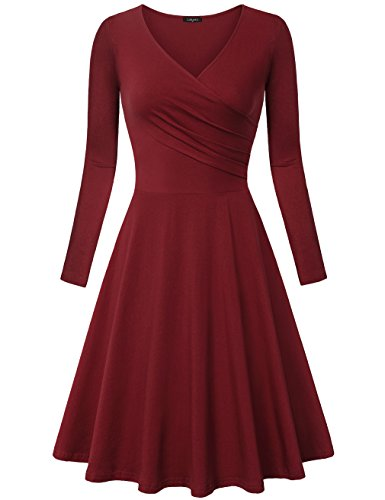 Laksmi Long Sleeve Dress, Women's V Neck Elegant Simple Retro Mid Length A Line Dress Wine Large