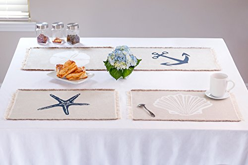 Living Fashions Table Placemats Set By 4 Beach Themed Nautical Kitchen Place Mats For The Dining Table Made With 100% Washable Cotton - Seashell, Sand Dollar, Starfish & Anchor Designs With Fringes by Living Fashions (Image #1)