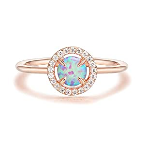 PAVOI 14K Gold Plated Cute Opal Ring, Adjustable | Gold Rings for Women
