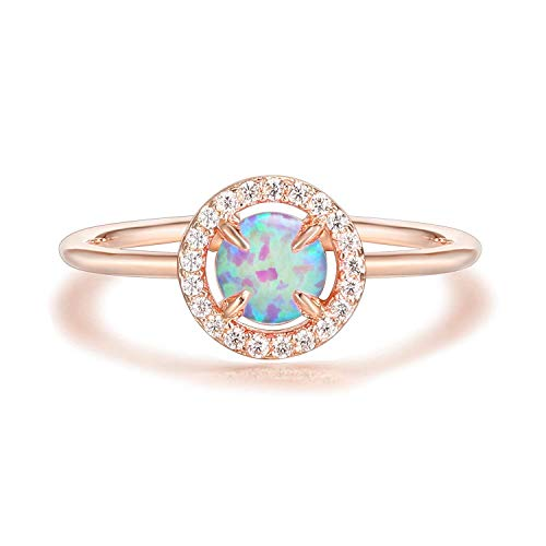 (PAVOI 14K Gold Plated Rose Gold Ring Pink Opal Ring | Rings for Women)