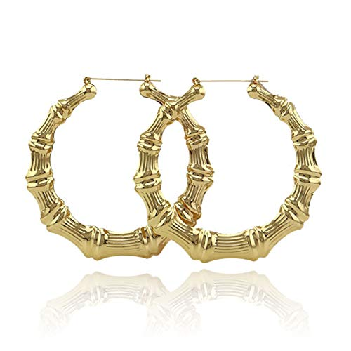 Bamboo Hoop Earrings Hoops - Zealmer Shoopic Bamboo Earrings Gold Tone Statement Hip-Hop Circle Hoop Earrings