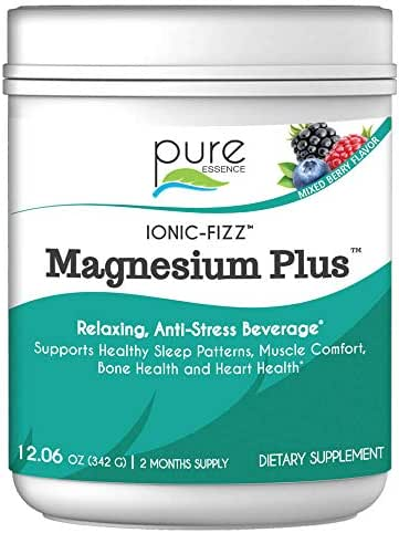 Pure Essence Labs Ionic Fizz Magnesium Plus - Calm Sleep Aid and Natural Anti Stress Supplement Powder - Mixed Berry - 12.06 oz