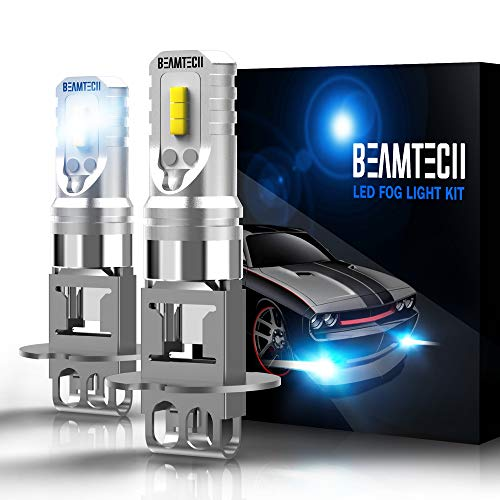 (BEAMTECH H3 Led Fog Light Bulb,CSP Chips 800 Lumens 6500K Xenon White Extremely Bright of 2)