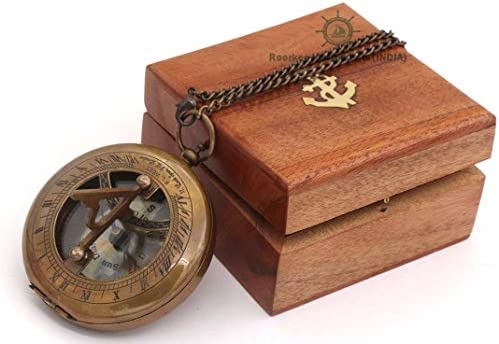 ROORKEE INSTRUMENTS INDIA A NAUTICAL REPRODUCTION HOUSE RII Sundial Compass with Case Wood Box
