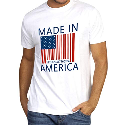 Zlolia Men's American Flag Made in America Print Solid Color T-Shirt Muscle Build Tercel Tee New Patriotic Top Blouses