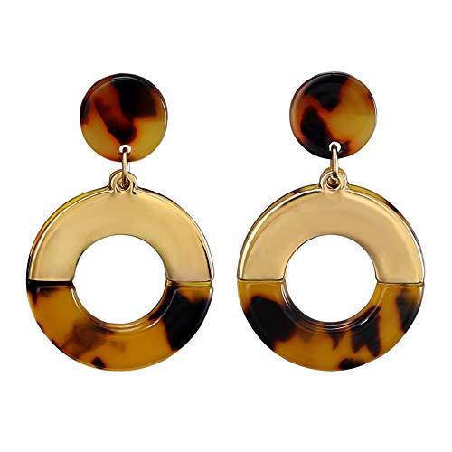 LILIE&WHITE Acrylic Round Drop Earring Tortoise Shell Resin Dangle Earrings for Women Geometric Earrings Jewelry Gift