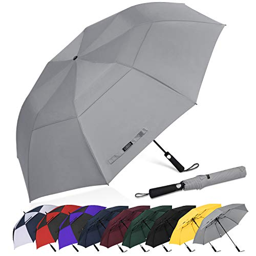 G4Free 62 Inch Portable Golf Umbrella Large Oversize Double Canopy Vented Windproof Waterproof Auto Open Folding Umbrellas(Gray) ()