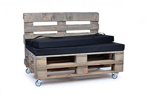 Palettenkissen, Gartenmöbel Auflagen, Sitzbankauflage, Matratzenauflagen auch m. Rückenlehne bzw. Dekokissen in Nylon, schwarz, wasserabweisend und strapazierfähig