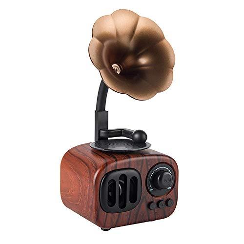 Longpro Small Portable Bluetooth Speaker Retro Vintage Phonograph Shape Home Decor(Dark Brown)