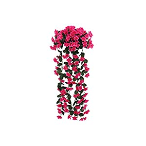 Artificial Leaf Vine Silk Artificial Flowers with Leaves Silk Wall Hanging Vines Flower Violet Vine Rattan for Home Balcony Fence Wedding,2 44