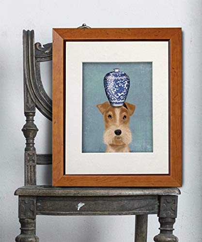 Cazvas Wire Fox Terrier Art Print - Wire Fox Terrier and Blue Vase Wire Fox Terrier Gifts Wire Fox Terrier Picture Wire Fox Terrier Painting Print Frame ()