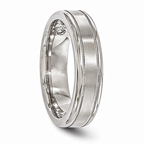 Edward Mirell Satin and Polished Titanium Milgrain 6mm Wedding Band - Size 11