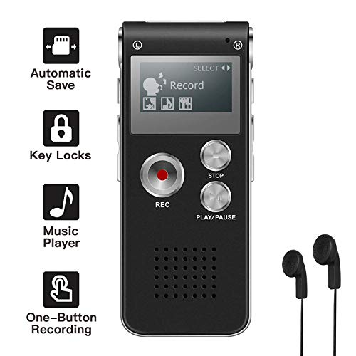 8GB Voice Recorder, HD Mini Digital Voice Recorder 290 Hours Recording Capacity Dictaphone Double Mic for Meeting/Classes/Lectures/Speech