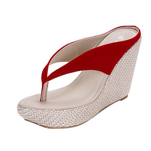 Lvguang Femme Tongs Compensée Mode Mule Sandales Clip Toe Flip Flops Comfortable Chaussure de Plage Rouge Tl8y2o