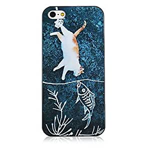 QHY Cat and Fish Pattern Black Frame Back Case for iPhone 5/5S