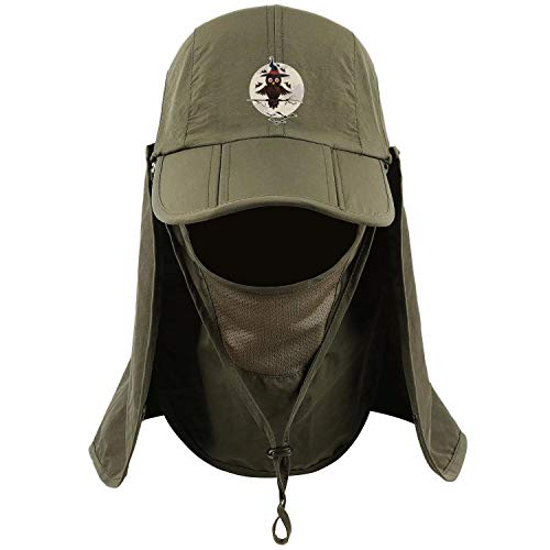 SMHNG Funny Halloween owl Moon Fishing Hat Unisex Removable Neck & Face Flap Wide Brim Sun Cap