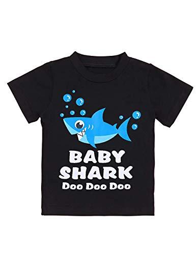 Newborn Baby Shark Song Doo Doo Doo Cute Short Sleeve Clothes for Boy Girl Infant Kids T-Shirt (Little Boy Shirt Labels)