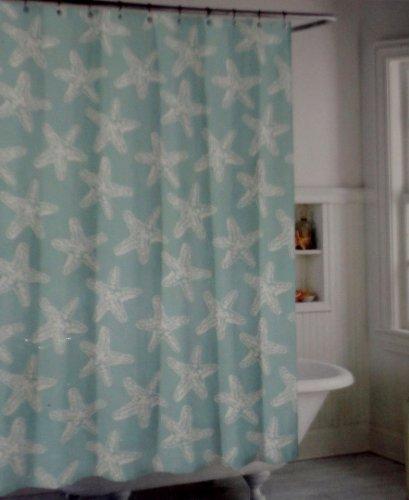 Coastal Collection Aqua White Starfish Fabric Shower Curtain Amazoncouk Kitchen Home