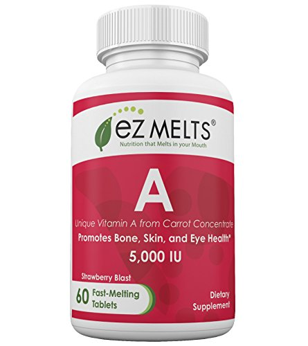EZ Melts Vitamin A, 5,000 IU, Dissolving Vitamins, Zero Sugar, Natural Strawberry Flavor, GMO-Free Fast Melting Tablets, Skin and Eye Health, Gluten-Free Chewable Supplement
