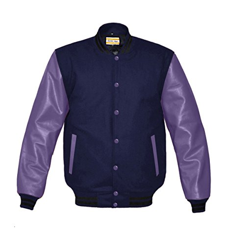 Original American Varsity Real Purple Leather Letterman College Baseball Men Wool Jackets (Navy Letterman Wool Jacket)