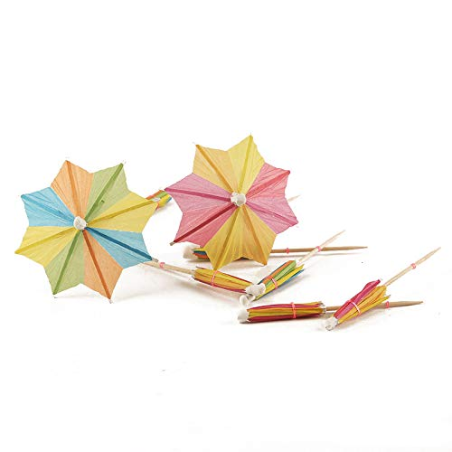 144 Pcs Handmade Umbrella Picks Cocktail Sticks for Tropical Drink Pool Party Decorations, Star Shape