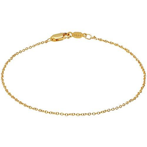 1.3mm 24kt Gold Plated Cable Link Bracelet, 7 -