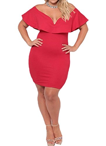 Cocktail Dress Waist Red Plus Off Smocked Size Women Flounced Coolred Shoulder 7H8Tq