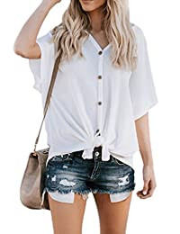 Zojuyozio Womens Summer Casual Button up V Neck T Shirt Short Sleeve Solid Top Tee