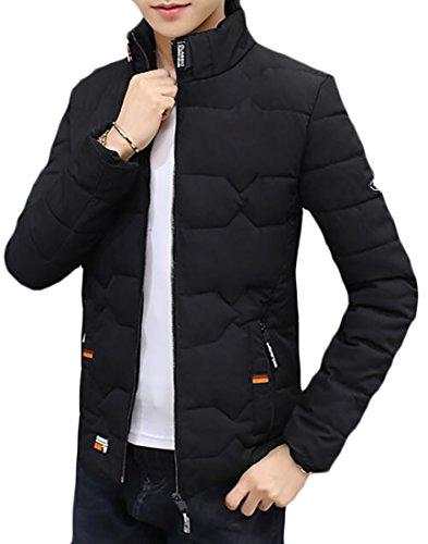 Sleeved today Down Stand Black UK Coats Collar Wram Zipper Long Men Xr8awXqA