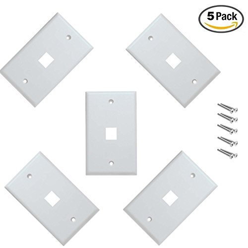 iMBAPrice Cat5e / Cat6 Keystone Wall Plate - White (1 Port - Pack of 5)
