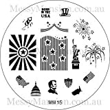 MESSY MANSION MM15 Nail Art Stamping Plate - 4th July Themed