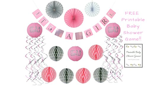 Baby Shower Decorations for Girl ALL INCLUSIVE SET | It's Girl Banner |4 FREE BABY SHOWER GAMES | Flush Pink and Glittery Silver | 25 Pieces |Honeycomb Balls, Fans, Banner, Lanterns, Games (Inclusive Game)