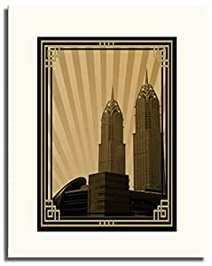 Al Kazim Towers Metro - Sepia With Gold Border No Text F05-nm (a1) - Framed