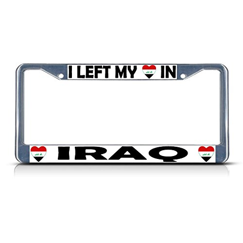 I Left My Heart in Iraq Country Flag Metal License Plate Frame Tag Border Perfect for Men Women Car garadge Decor