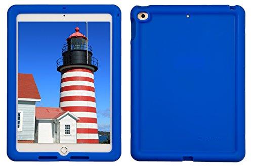 Bobj Rugged Case for iPad 2017 5th Generation 9.7 - BobjGear Custom Fit - Patented Venting - Sound Amplification - BobjBounces Kid Friendly (NOT for iPad 2018, iPad Pro 10.5) (Batfish Blue)