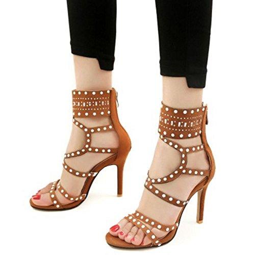 Zanpa 2 Moda brown Caviglia Sandali Gladiator Donna SwSzqarg